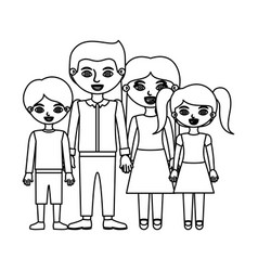 Black contour family group in casual clothes and vector