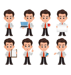Business man cartoon character set of eight cute vector