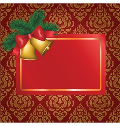 Christmas card with gold bells vector image vector image