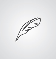 feather outline symbol dark on white background vector image vector image