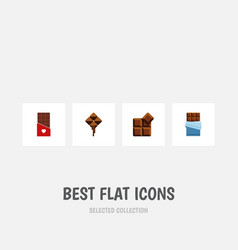 Flat icon bitter set of bitter delicious cocoa vector