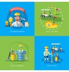 Golf 2x flat icons vector