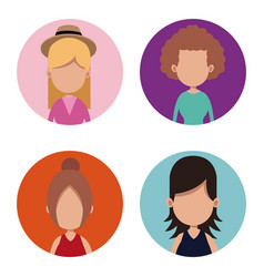 Group female people different vector