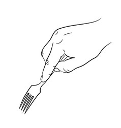 hand holding a fork on white background vector image