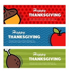 Happy thanksgiving day three banners vector