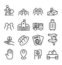 Immigration refugee icon set in thin line style vector