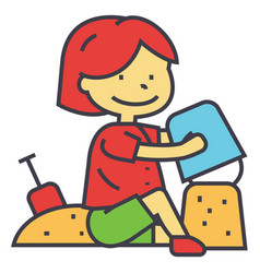 Kid making sand castle at seacoast beach concept vector