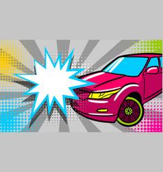Luxury roadster text star crash speech bubble vector