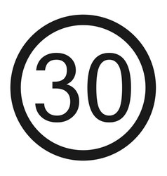 Maximum speed limit 30 sign line icon vector