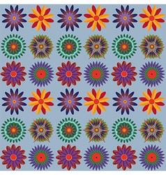 Orange blue green flower pattern vector