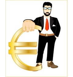Persons with sign euro vector