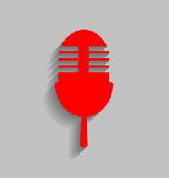 Retro microphone sign red icon with soft vector
