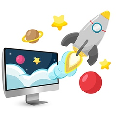 Rocket start project cartoon vector