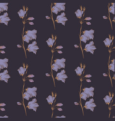Seamless pattern with wildflowers on a dark vector