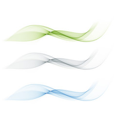 set of abstract color wave smoke transparent blue vector image vector image