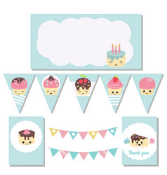 Set of birthday party elements set of birthday vector
