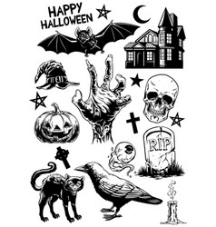 Set of hand drawing of halloween objects in black vector