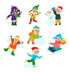 set of kids children doing winter activities vector image