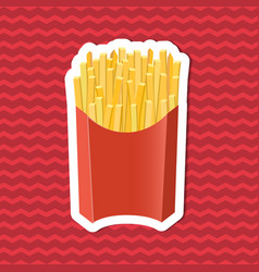 Sticker of french fries in paper box on red vector
