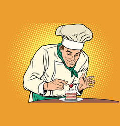 The chef prepares a sweet dessert vector