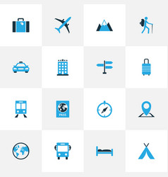 Traveling colorful icons set collection of train vector