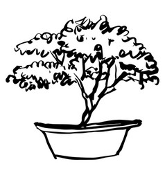 Tree in pot doodle vector