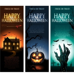 Vertical halloween invitation banners vector