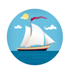 yacht icon travel concept vector image vector image