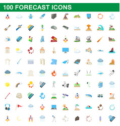 100 forecast icons set cartoon style vector