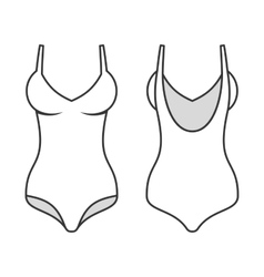 Woman swimming suit line style swimsuit vector