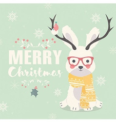 Merry christmas postcard hipster rabbit antlers vector