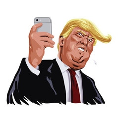 Donald trump and social media portrait vector