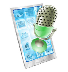 Microphone phone app concept vector