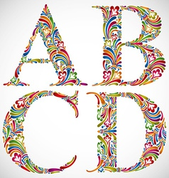 Ornate alphabet letters a b c d vector