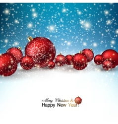 Beautiful christmas red balls on snow red xmas vector