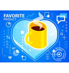 Bright heart and coffee on blue background f vector
