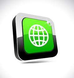Earth 3d square button vector