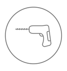 Hammer drill line icon vector