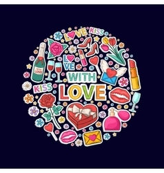 With love sticker clip mart in circle vector