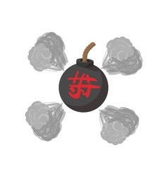 Round bomb ninja cartoon icon vector