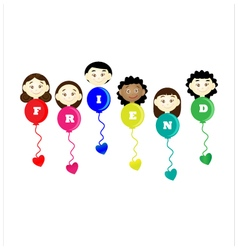Friendship day title children balloons flags vector