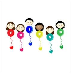 Friendship day title children balloons flags vector