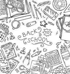 Square background of school supplies vector