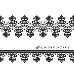 black lace border set vintage isolated on white vector image