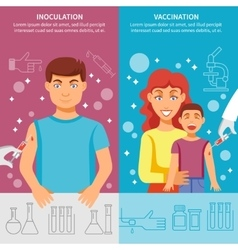 Child and adult vaccination banner set vector
