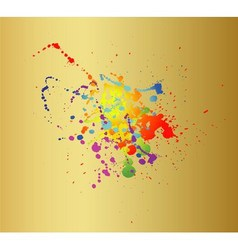 Colored paint splashes isolated on gold background vector