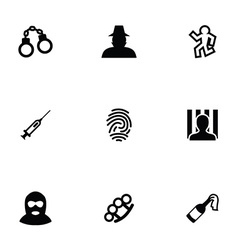 crime 9 icons set vector image vector image