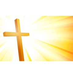 Cross on sunburst background vector