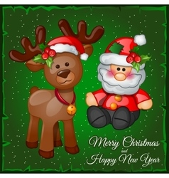 Deer and santa in a green background vector