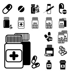 Different pill or drug jars icons isolated vector